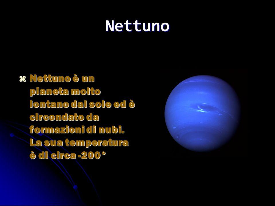 Nettuno Nettuno è un pianeta molto lontano dal sole ed è circondato da formazioni di nubi.