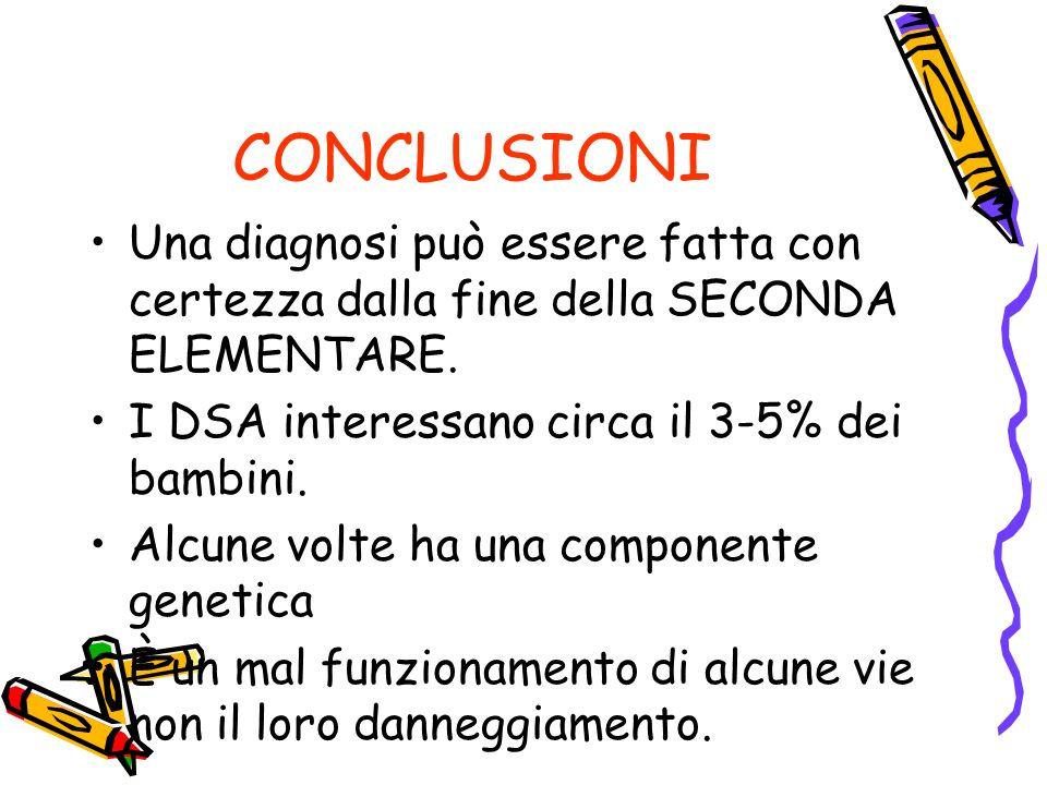 CONCLUSIONI Una diagnosi può essere fatta con certezza dalla fine della SECONDA ELEMENTARE. I DSA interessano circa il 3-5% dei bambini.