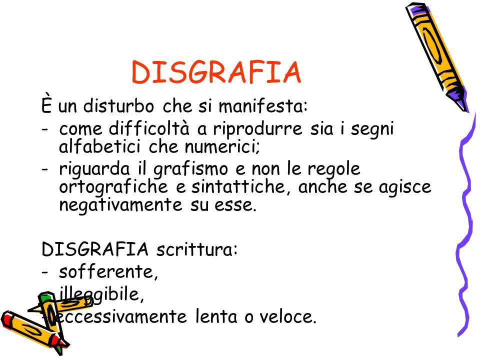 DISGRAFIA È un disturbo che si manifesta: