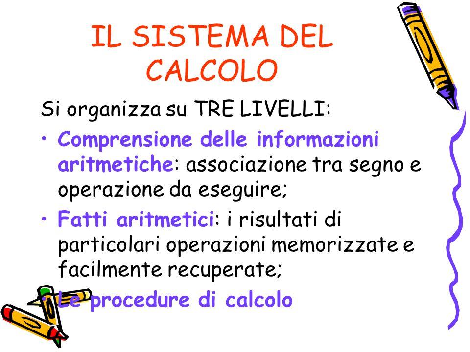 IL SISTEMA DEL CALCOLO Si organizza su TRE LIVELLI: