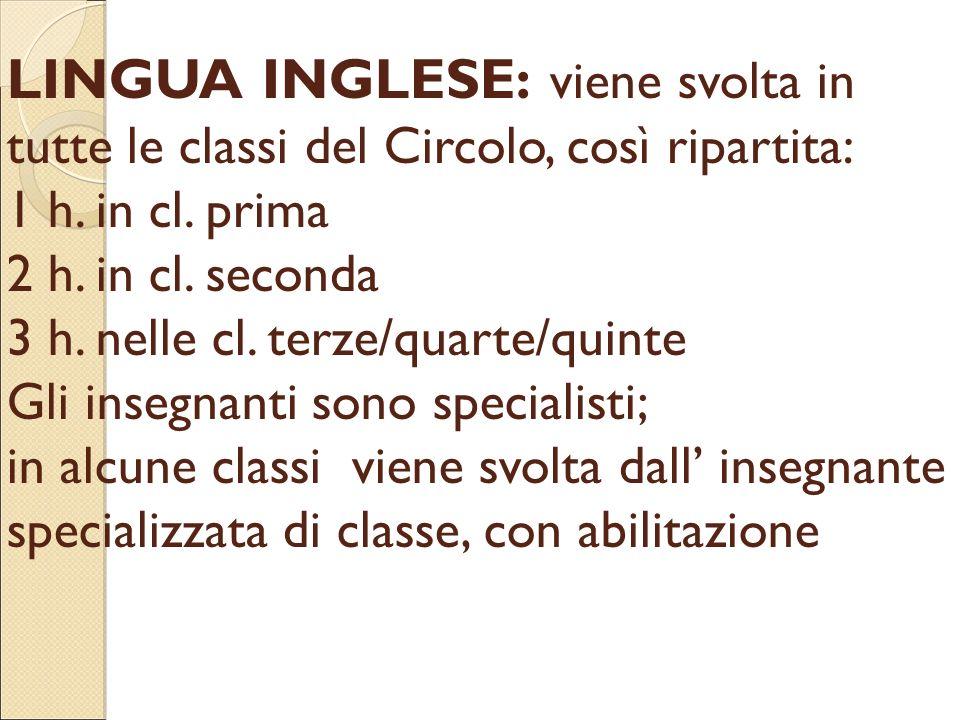LINGUA INGLESE: viene svolta in tutte le classi del Circolo, così ripartita: 1 h.
