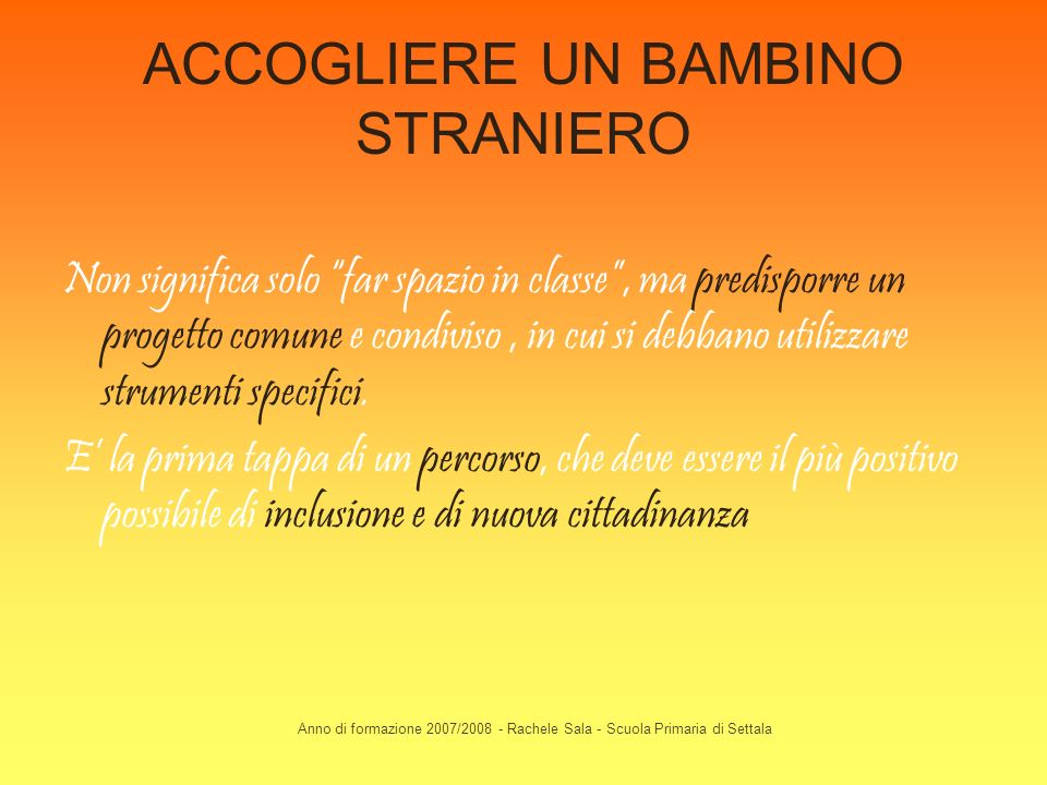 ACCOGLIERE UN BAMBINO STRANIERO