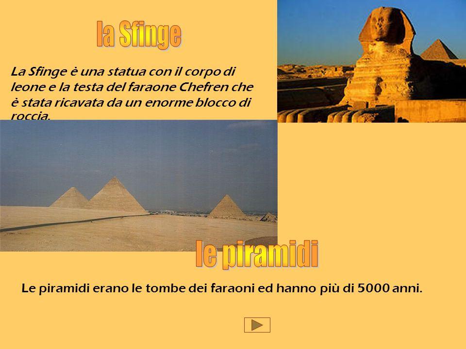 la Sfinge La Sfinge è una statua con il corpo di leone e la testa del faraone Chefren che è stata ricavata da un enorme blocco di roccia.