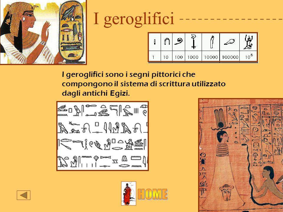 I geroglificiI geroglifici sono i segni pittorici che compongono il sistema di scrittura utilizzato dagli antichi Egizi.