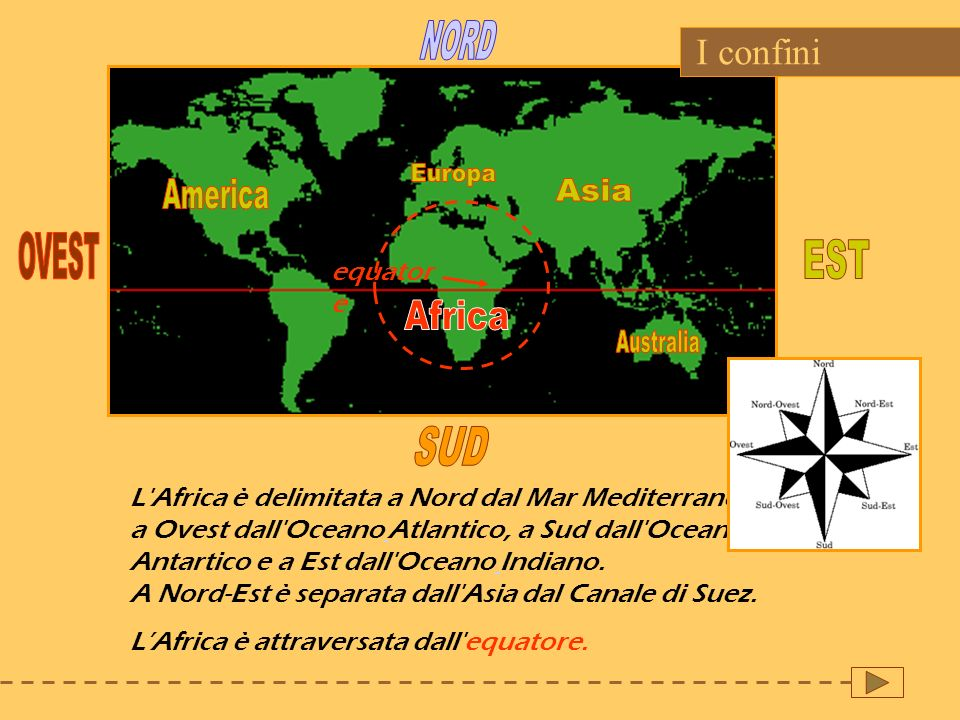 NORD Europa America Asia OVEST EST Africa Australia SUD I confini