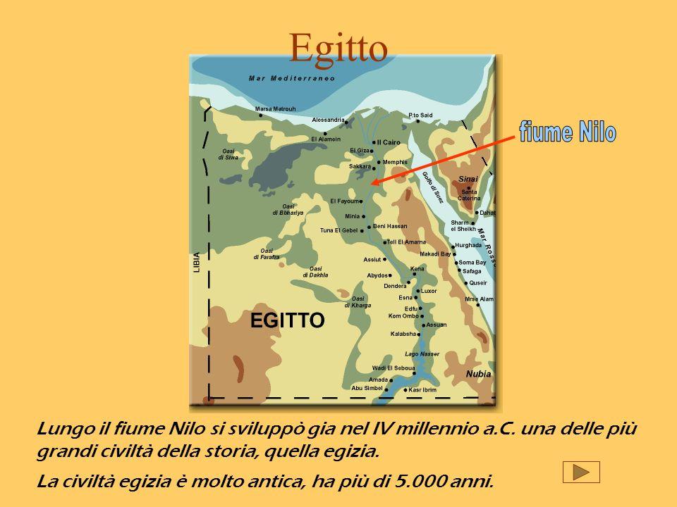 Egittofiume Nilo. Lungo il fiume Nilo si sviluppò gia nel IV millennio a.C. una delle più grandi civiltà della storia, quella egizia.