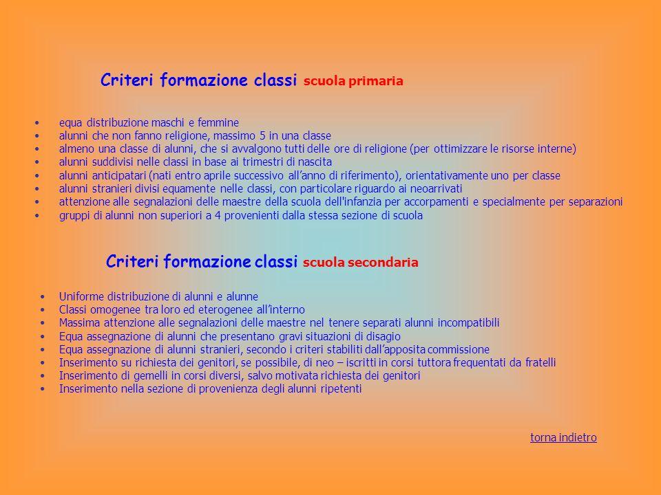 Criteri formazione classi scuola primaria