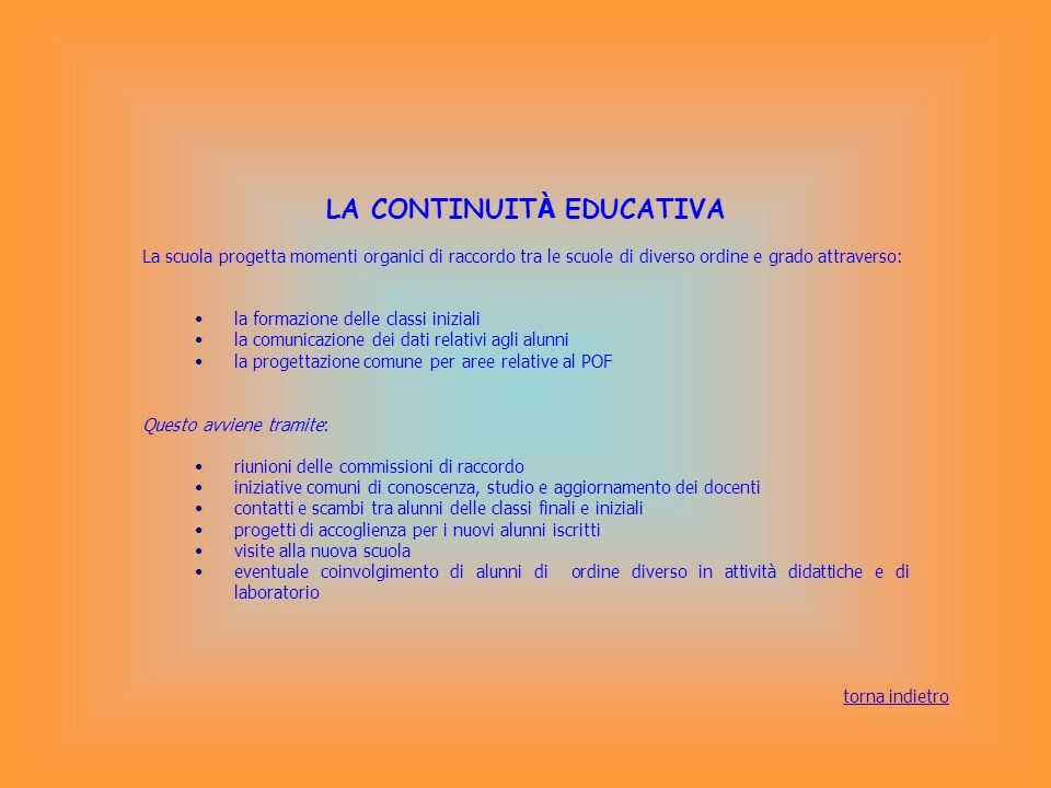 LA CONTINUITÀ EDUCATIVA