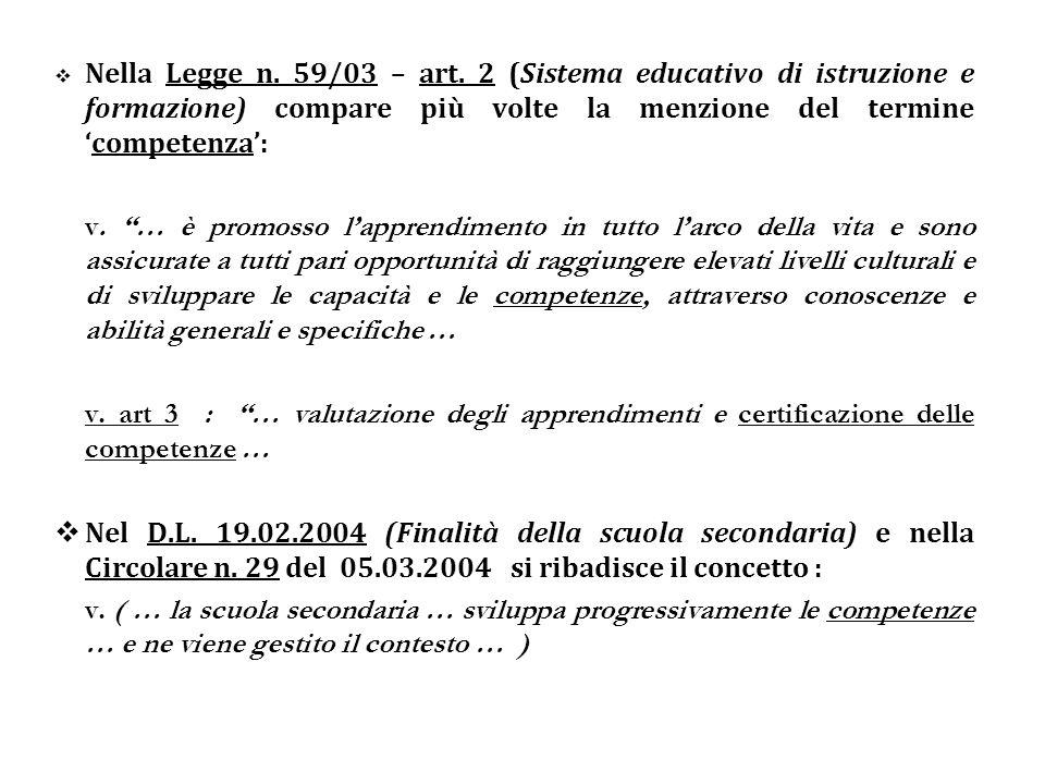 Nella Legge n. 59/03 – art. 2 (Sistema educativo di istruzione e formazione) compare più volte la menzione del termine 'competenza':