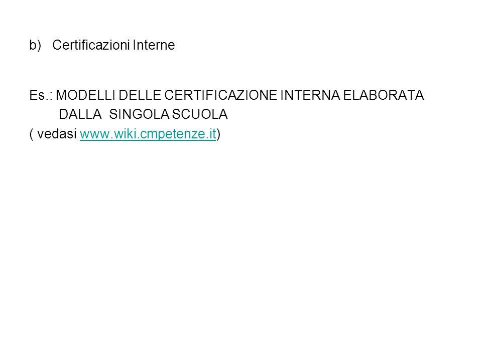 b) Certificazioni Interne