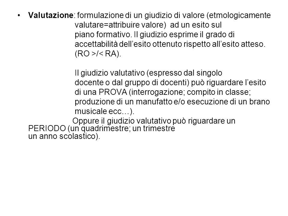 Valutazione: formulazione di un giudizio di valore (etmologicamente