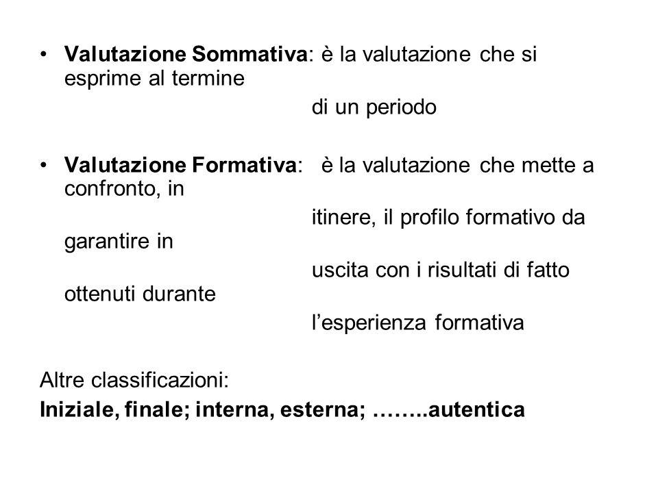 Valutazione Sommativa: è la valutazione che si esprime al termine