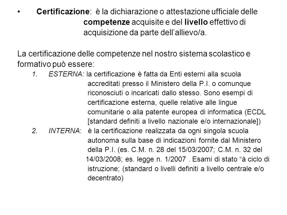 Certificazione: è la dichiarazione o attestazione ufficiale delle
