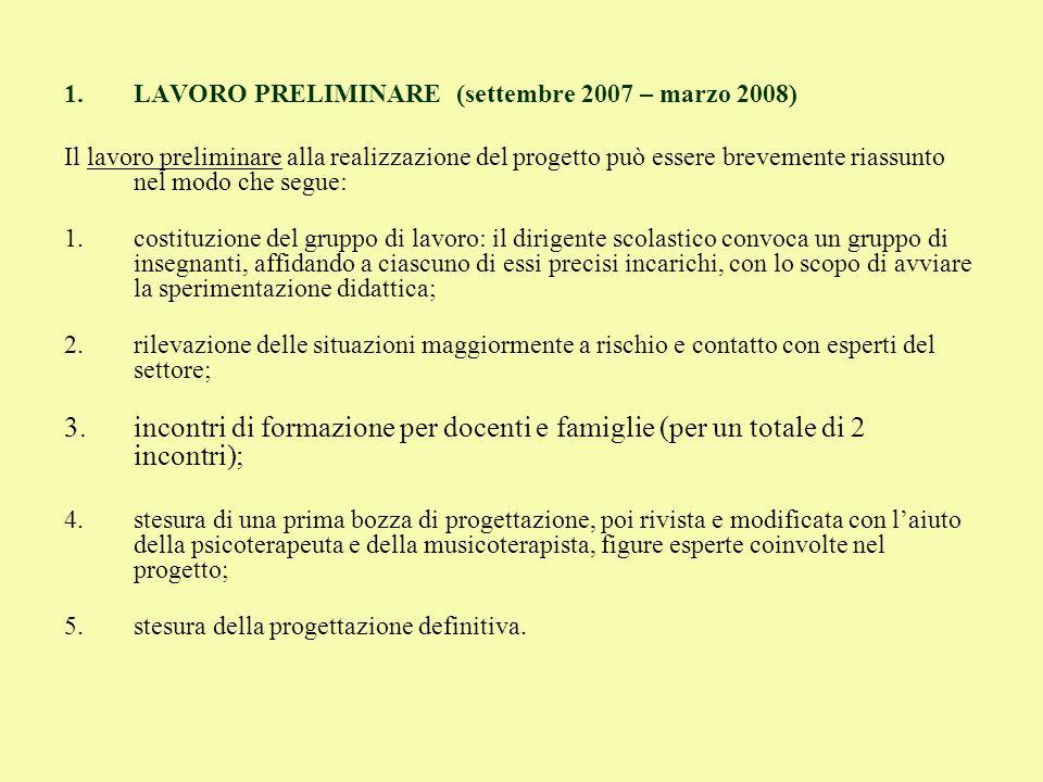 LAVORO PRELIMINARE (settembre 2007 – marzo 2008)