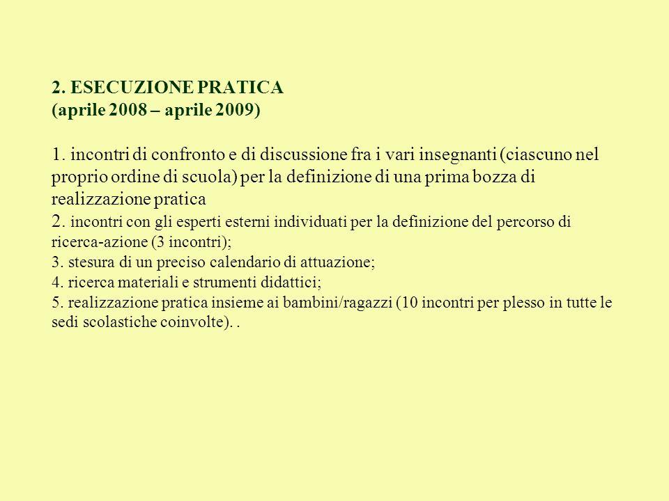 2. ESECUZIONE PRATICA (aprile 2008 – aprile 2009) 1