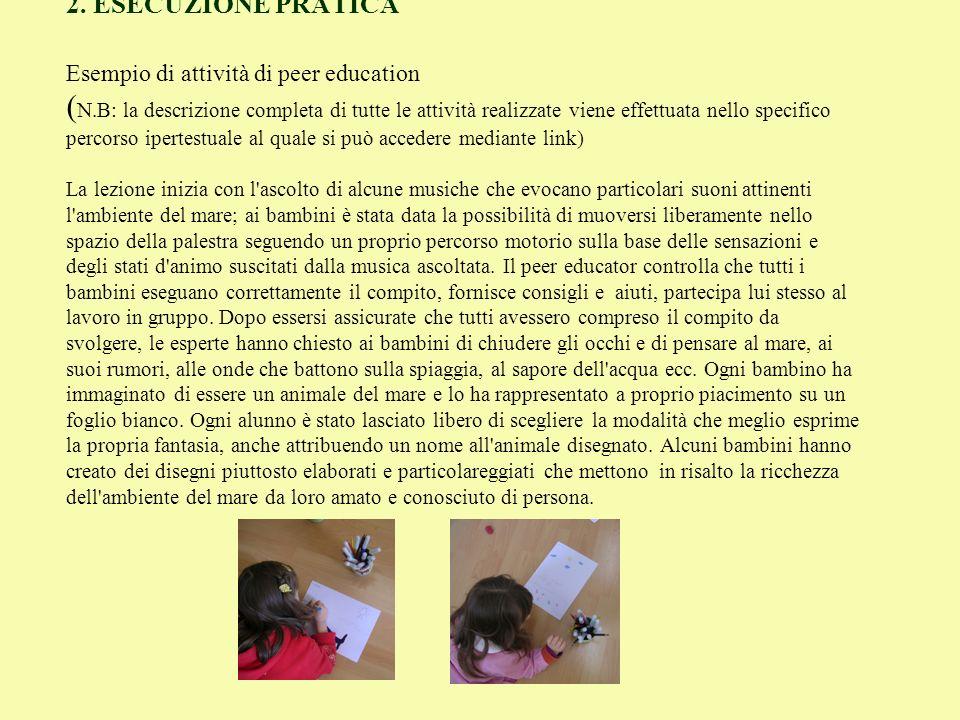 2. ESECUZIONE PRATICA Esempio di attività di peer education (N
