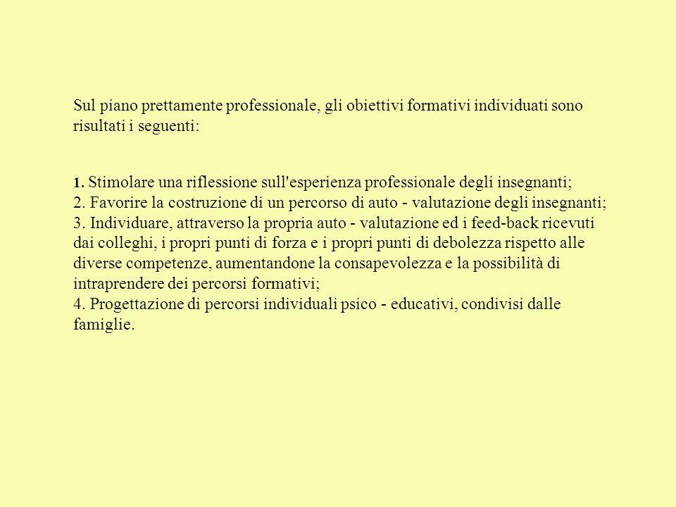 Sul piano prettamente professionale, gli obiettivi formativi individuati sono risultati i seguenti: 1.