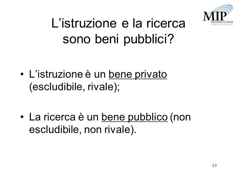 L'istruzione e la ricerca sono beni pubblici