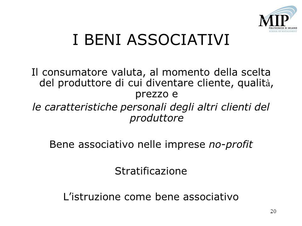 I BENI ASSOCIATIVI Il consumatore valuta, al momento della scelta del produttore di cui diventare cliente, qualità, prezzo e.