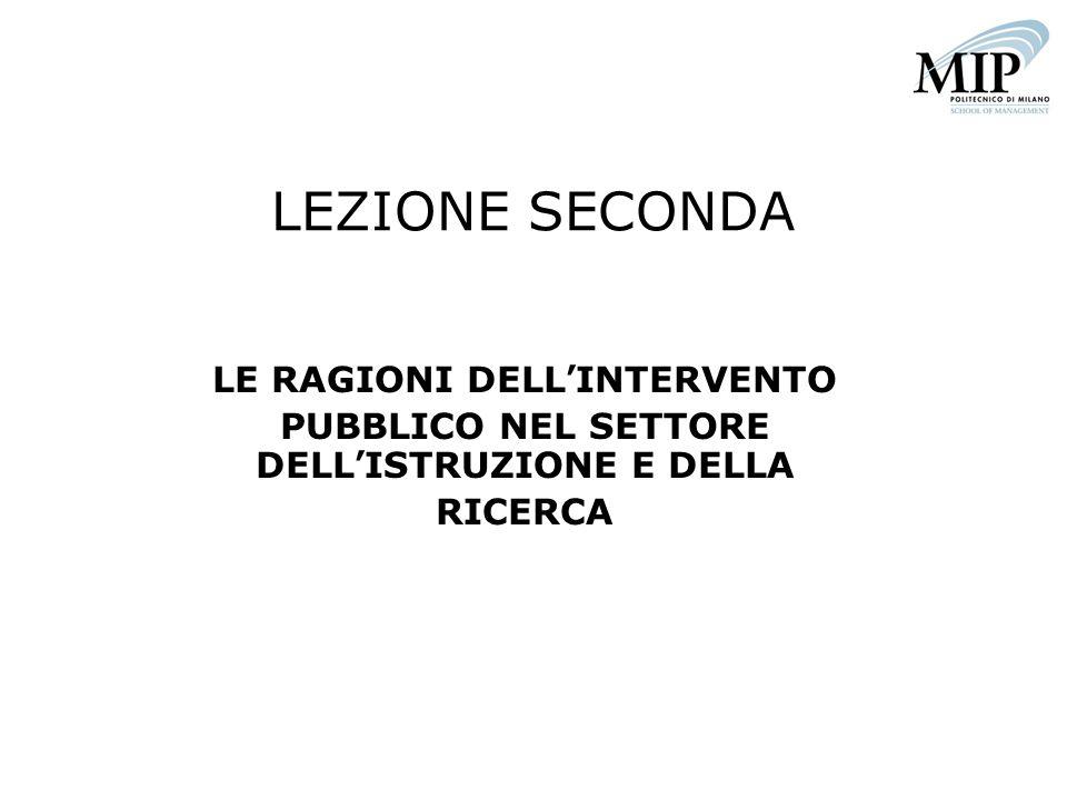 LEZIONE SECONDA LE RAGIONI DELL'INTERVENTO PUBBLICO NEL SETTORE DELL'ISTRUZIONE E DELLA RICERCA