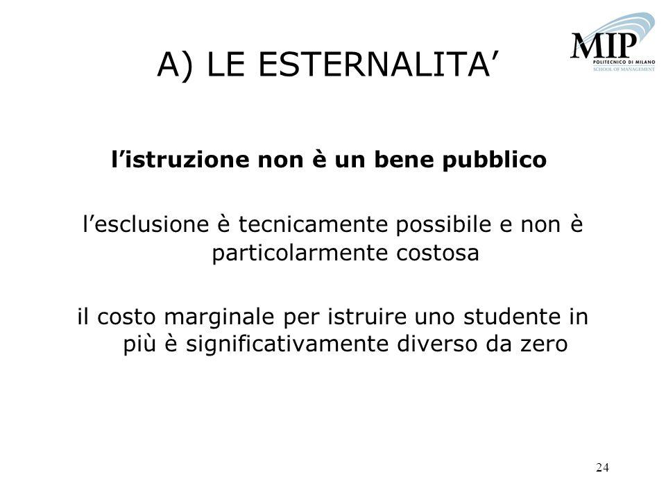 A) LE ESTERNALITA' l'istruzione non è un bene pubblico