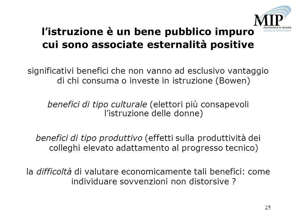 l'istruzione è un bene pubblico impuro cui sono associate esternalità positive