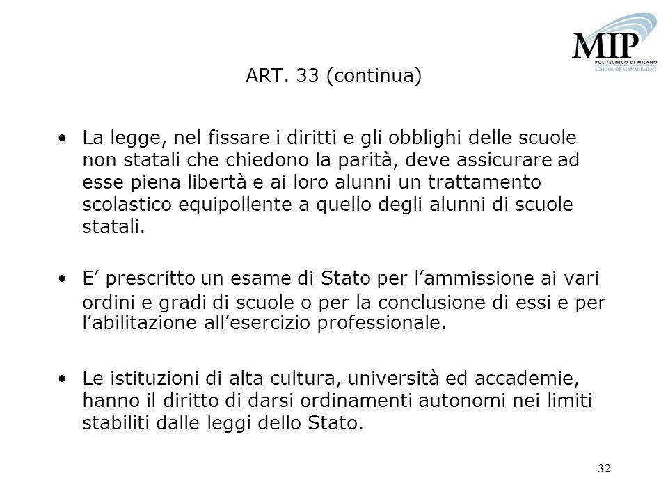 ART. 33 (continua)