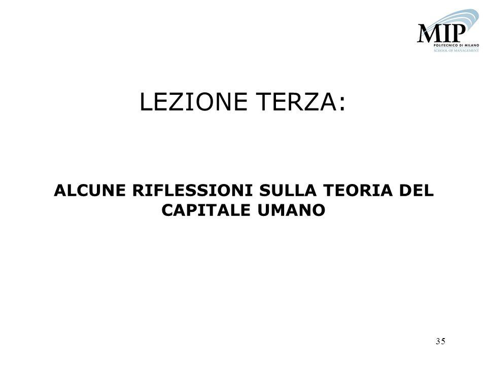 LEZIONE TERZA: ALCUNE RIFLESSIONI SULLA TEORIA DEL CAPITALE UMANO