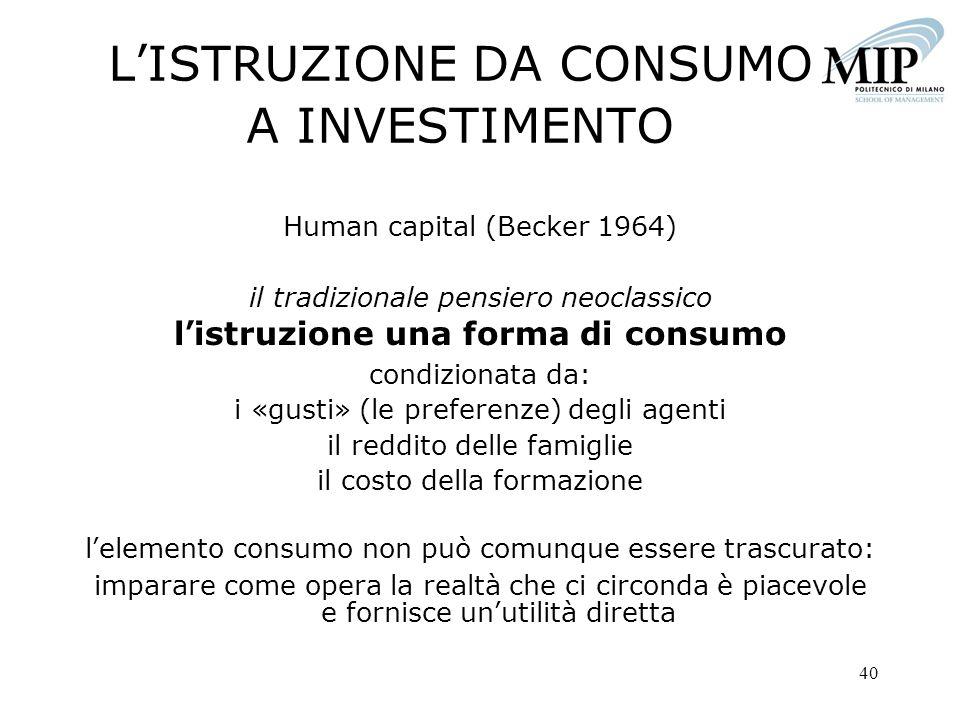 L'ISTRUZIONE DA CONSUMO A INVESTIMENTO