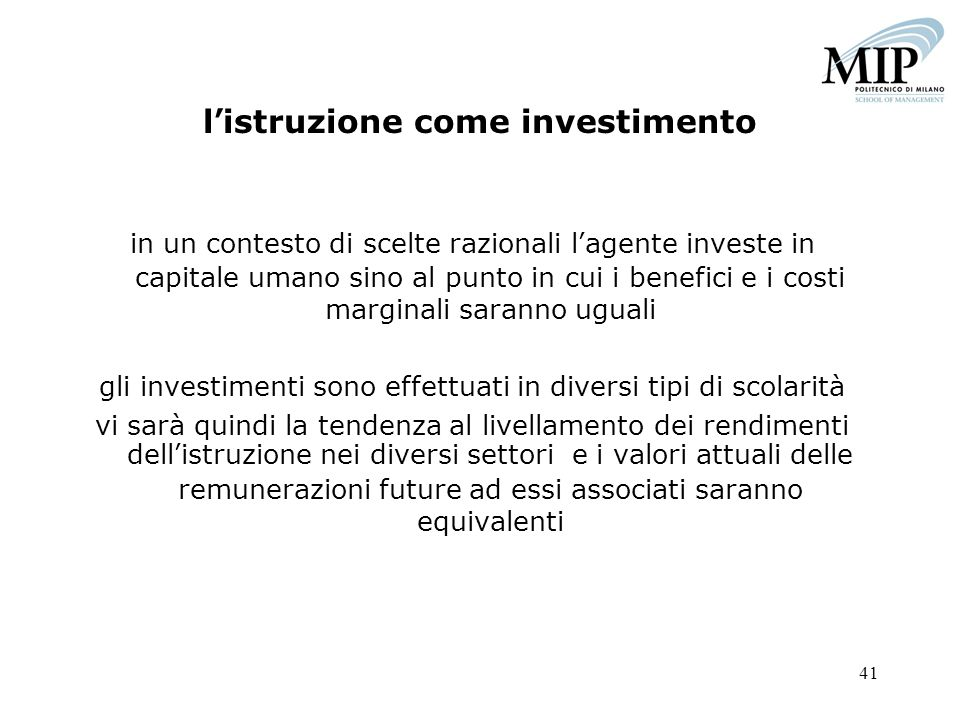 l'istruzione come investimento