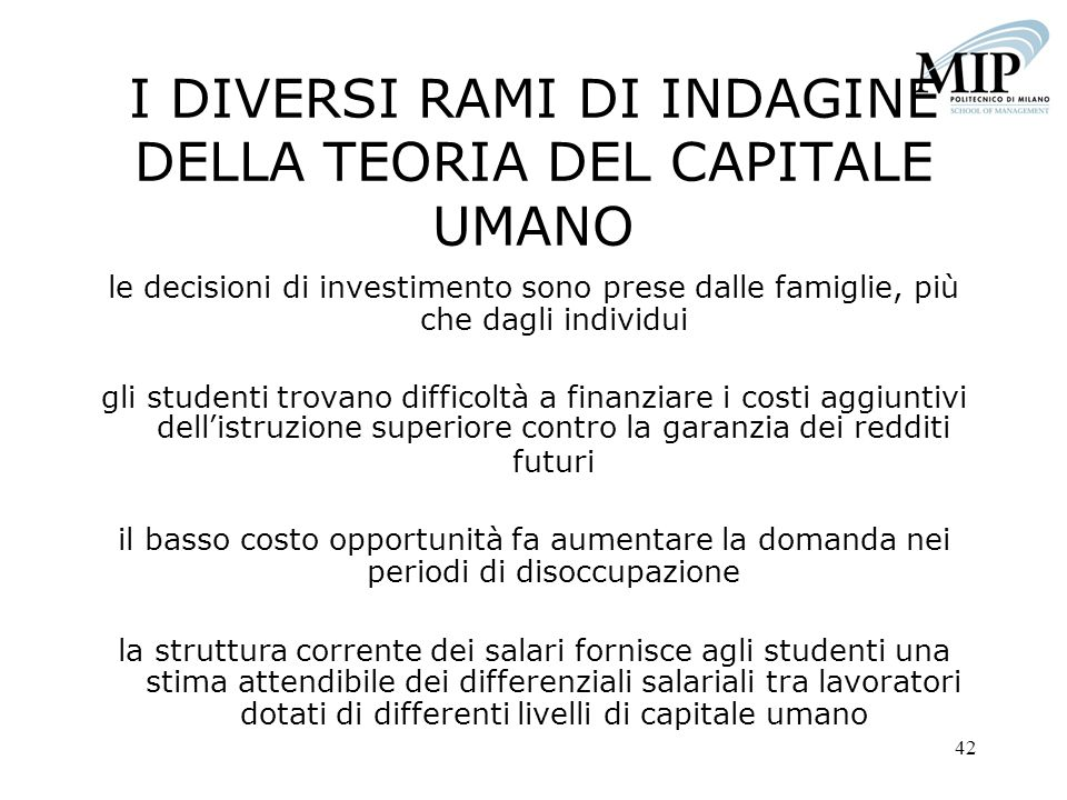 I DIVERSI RAMI DI INDAGINE DELLA TEORIA DEL CAPITALE UMANO