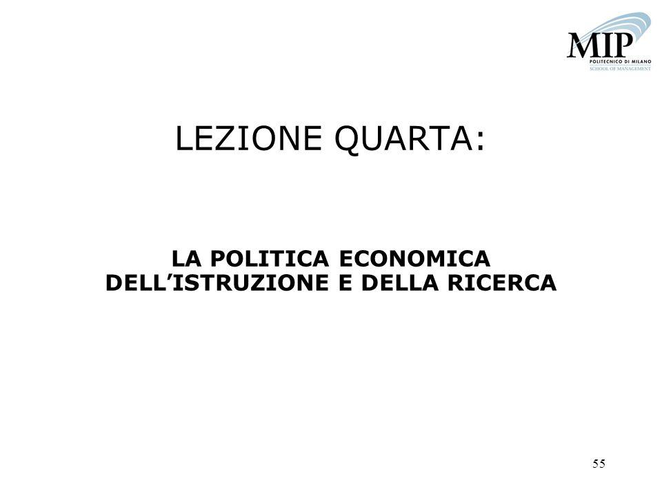 LEZIONE QUARTA: LA POLITICA ECONOMICA DELL'ISTRUZIONE E DELLA RICERCA
