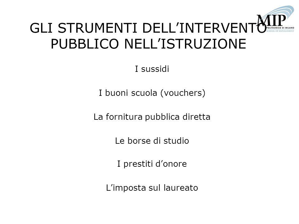 GLI STRUMENTI DELL'INTERVENTO PUBBLICO NELL'ISTRUZIONE