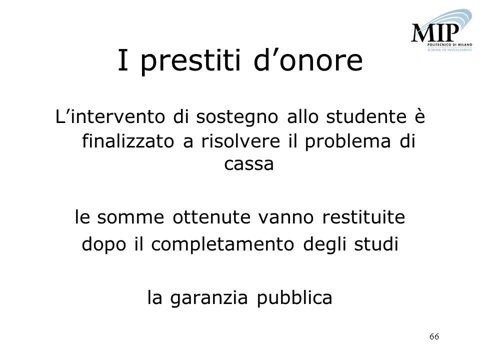 I prestiti d'onore L'intervento di sostegno allo studente è finalizzato a risolvere il problema di cassa.