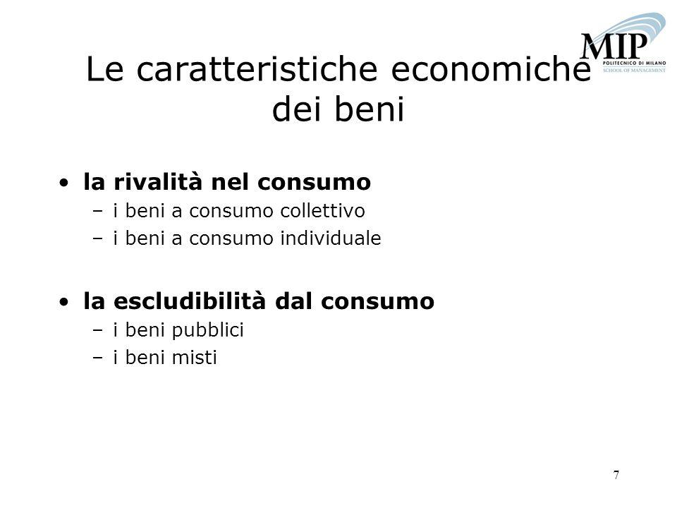 Le caratteristiche economiche dei beni