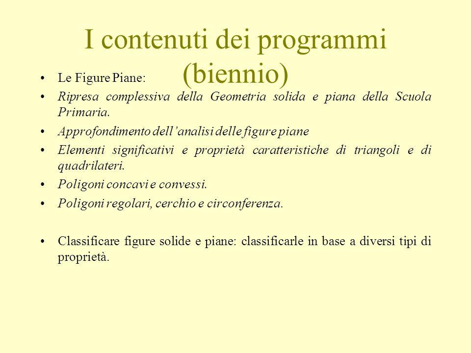 I contenuti dei programmi (biennio)
