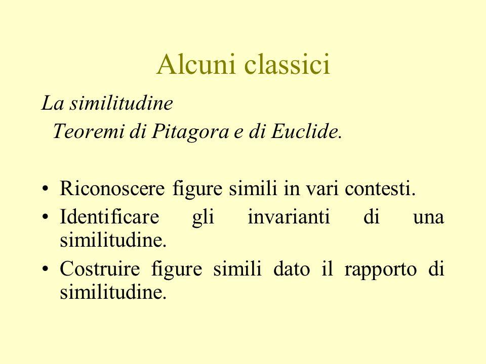Alcuni classici La similitudine Teoremi di Pitagora e di Euclide.