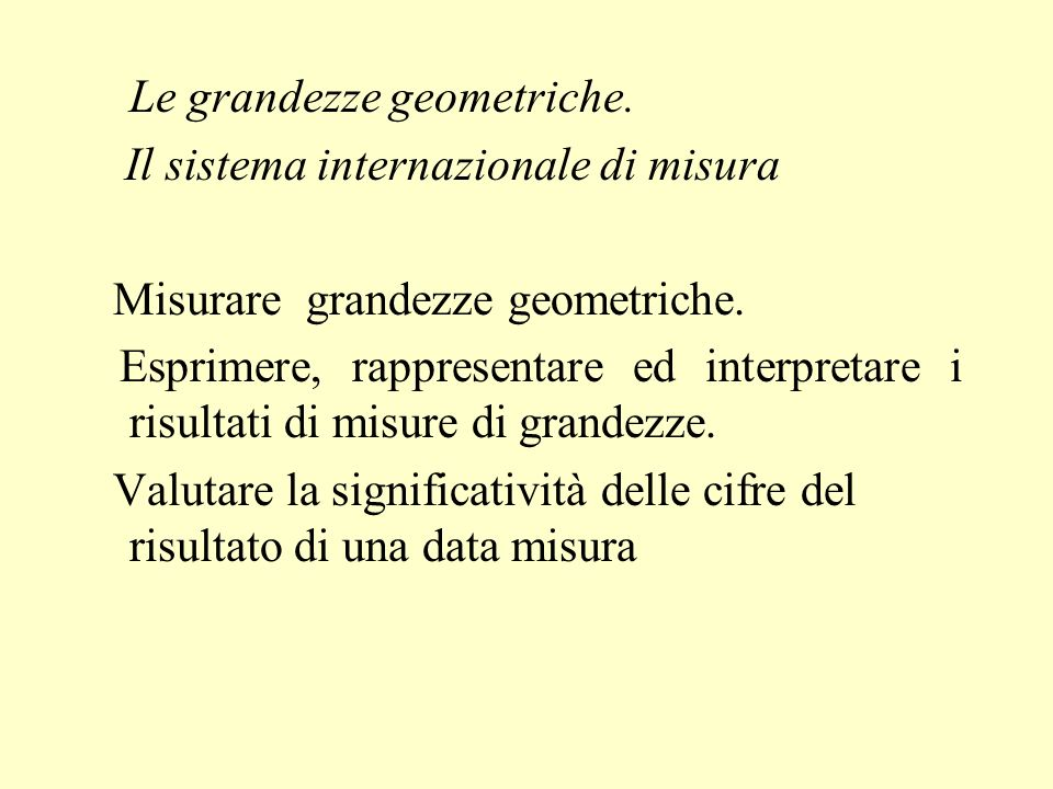 Le grandezze geometriche.