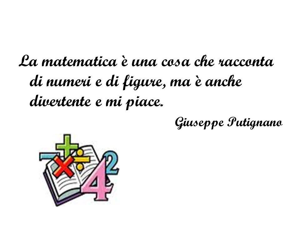 La matematica è una cosa che racconta di numeri e di figure, ma è anche divertente e mi piace.