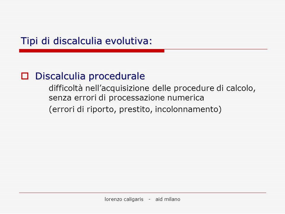 Tipi di discalculia evolutiva: