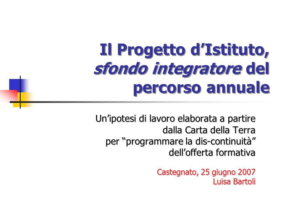 Il Progetto d'Istituto, sfondo integratore del percorso annuale