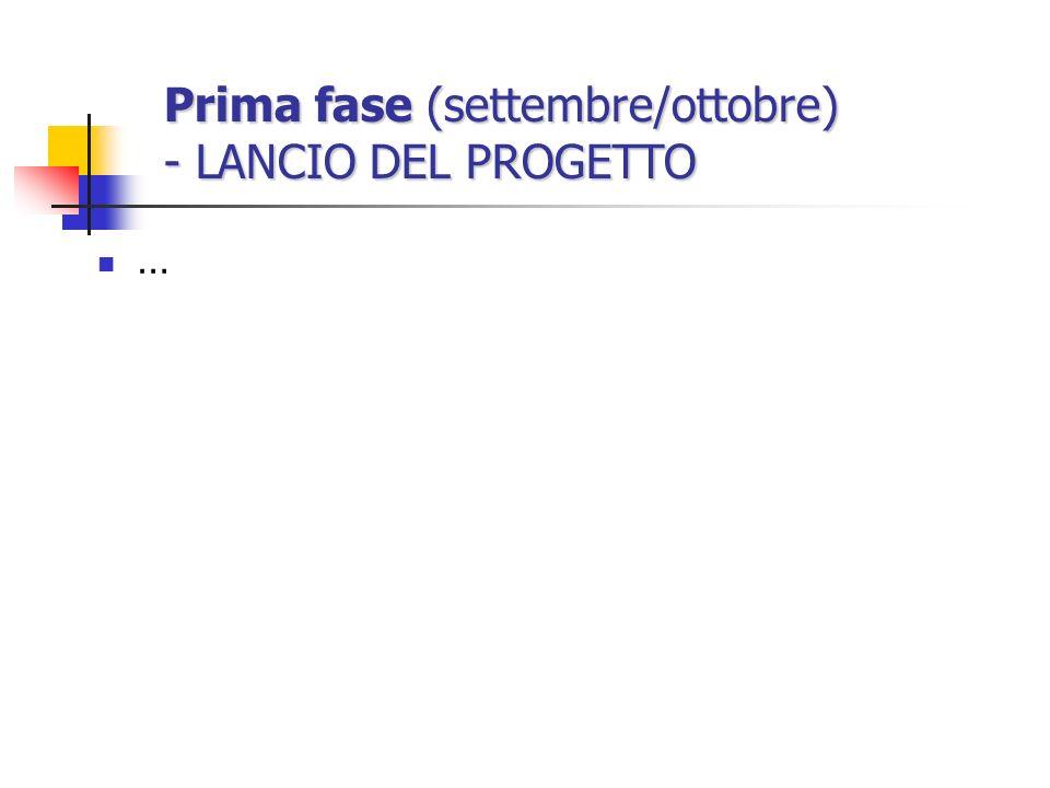 Prima fase (settembre/ottobre) - LANCIO DEL PROGETTO