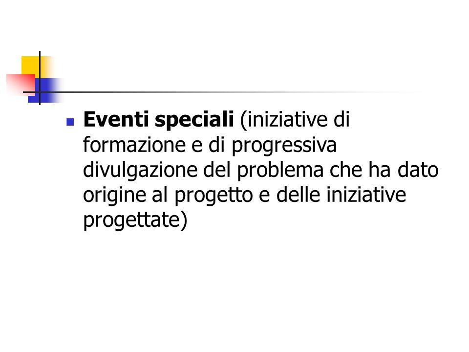 Eventi speciali (iniziative di formazione e di progressiva divulgazione del problema che ha dato origine al progetto e delle iniziative progettate)