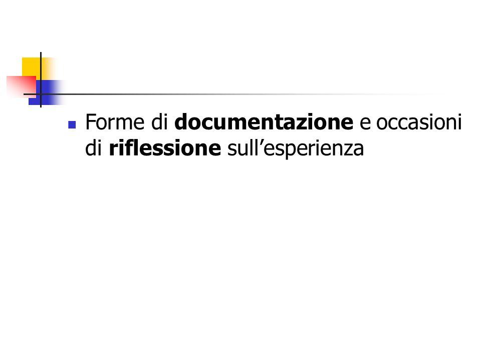 Forme di documentazione e occasioni di riflessione sull'esperienza