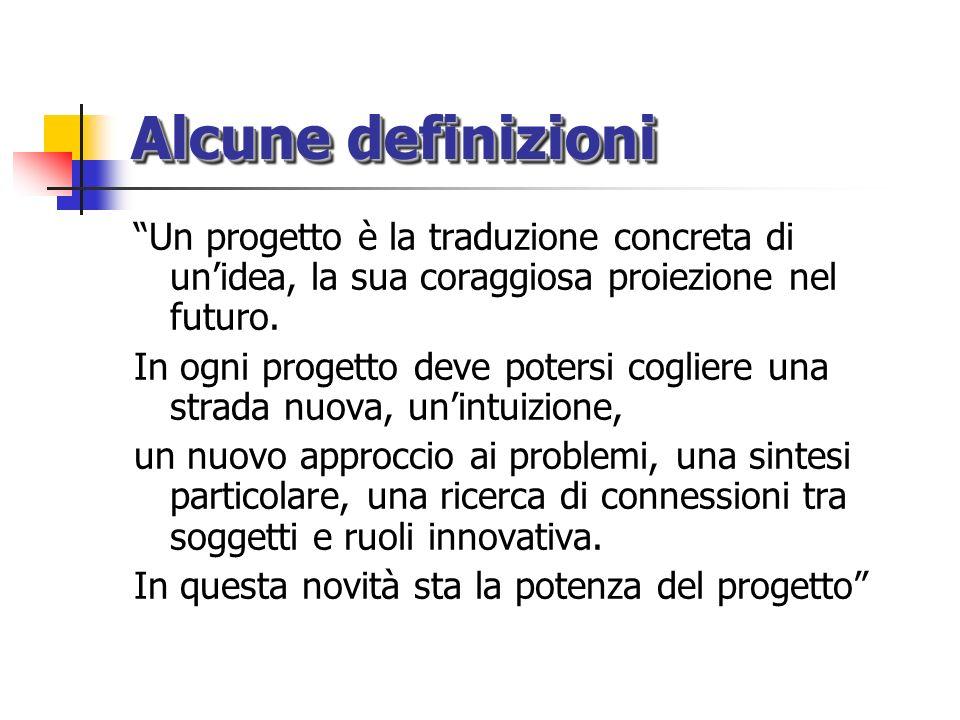 Alcune definizioni Un progetto è la traduzione concreta di un'idea, la sua coraggiosa proiezione nel futuro.