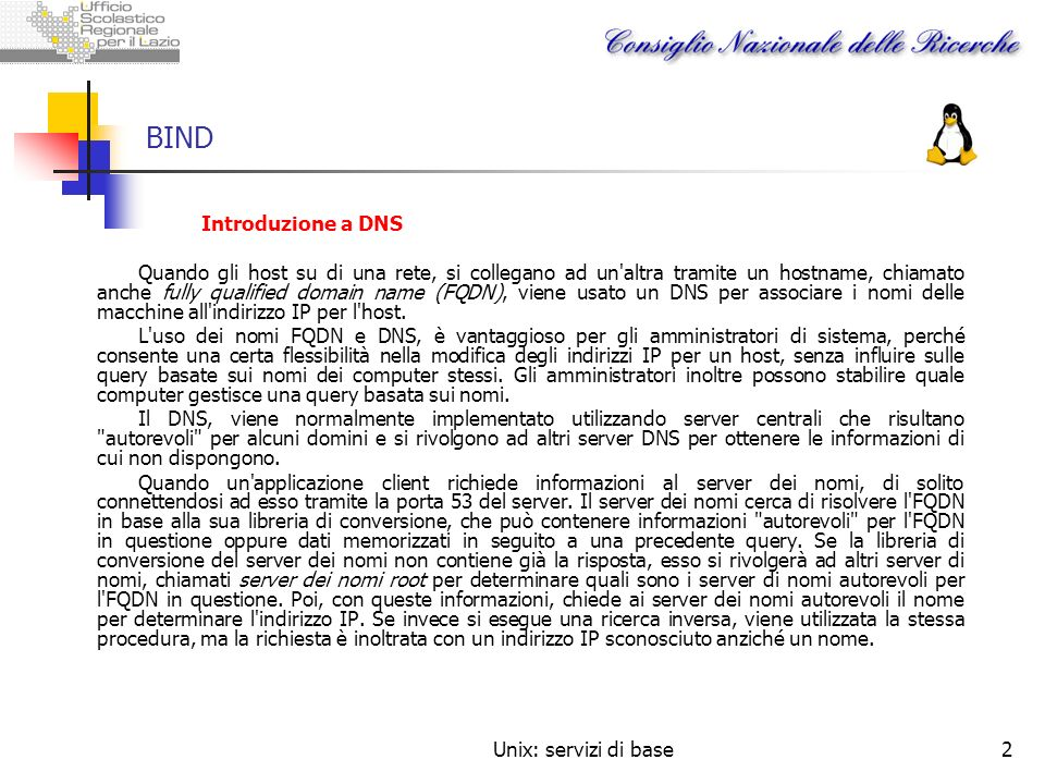 BIND Introduzione a DNS