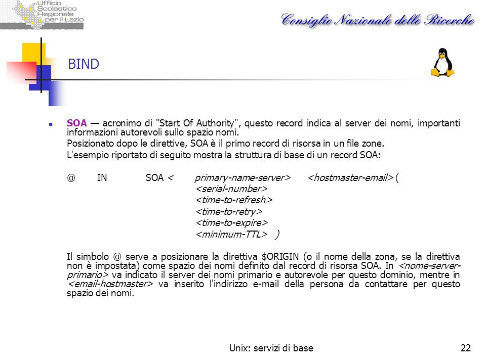 BIND SOA — acronimo di Start Of Authority , questo record indica al server dei nomi, importanti informazioni autorevoli sullo spazio nomi.