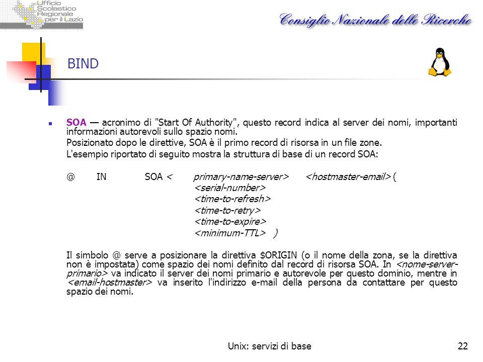 BINDSOA — acronimo di Start Of Authority , questo record indica al server dei nomi, importanti informazioni autorevoli sullo spazio nomi.