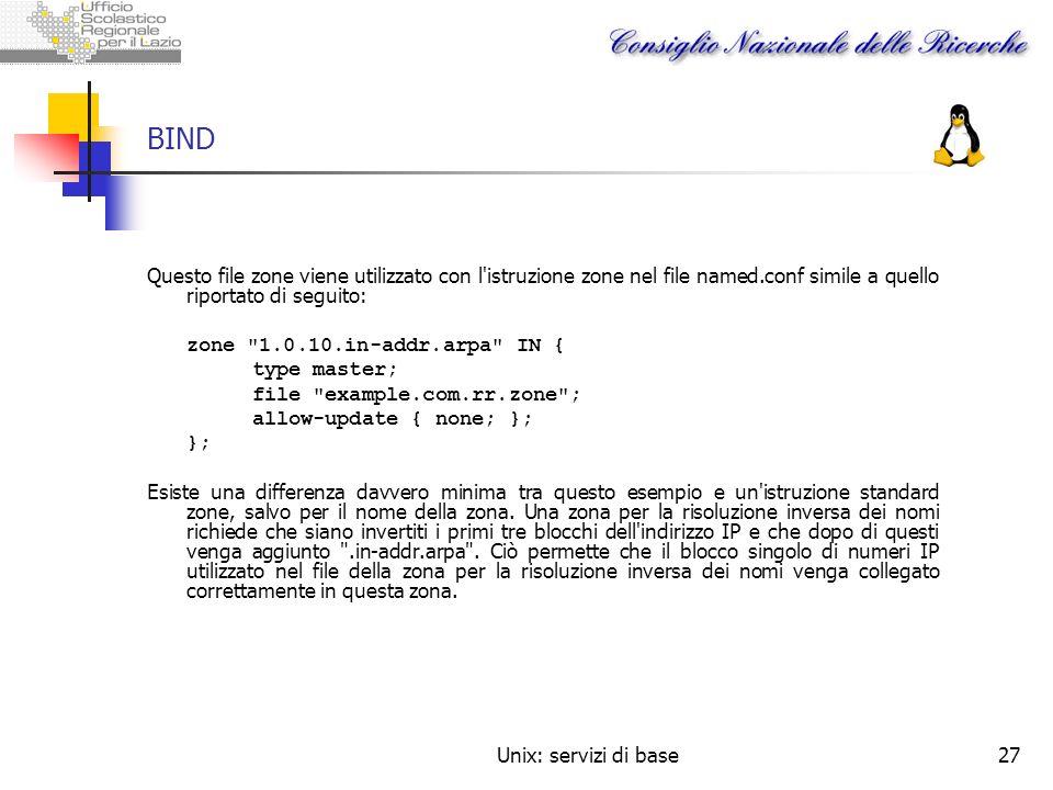 BINDQuesto file zone viene utilizzato con l istruzione zone nel file named.conf simile a quello riportato di seguito: