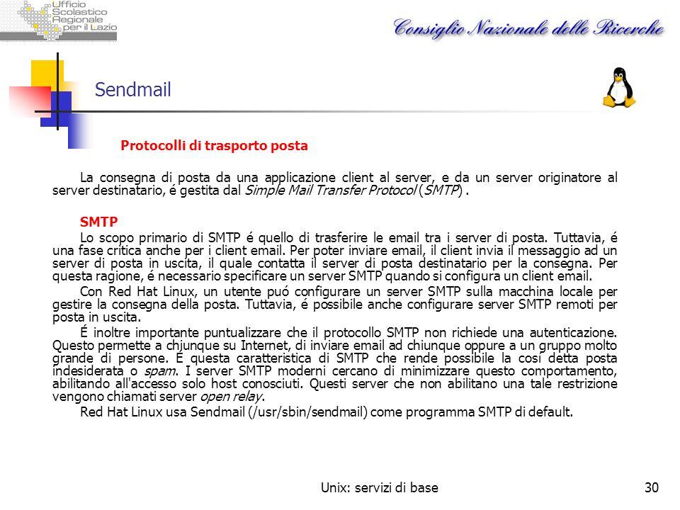Sendmail Protocolli di trasporto posta